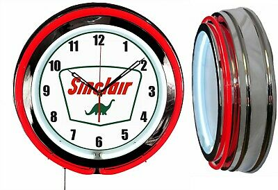 "Sinclair Dino Gas Oil 19"" Double Neon Clock Red Neon Chrome Finish"