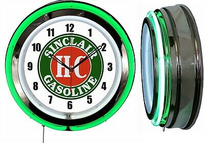 "Sinclair H-C Gasoline 19"" Double Neon Clock Green Neon Chrome Finish"