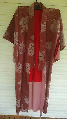 Fab Brown With Bold Floral Pattern Vintage Japanese Full Length Silk Kimono