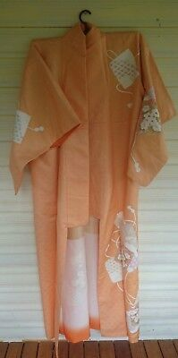Fab Pale Orange Cord Patterned Vintage Japanese Full Length Silk Kimono