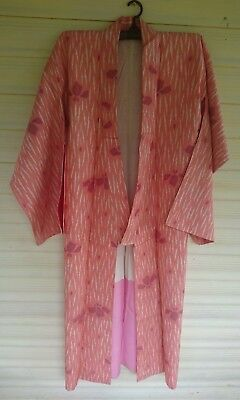 Fab Pink With White Pattern Vintage Japanese Silk Kimono