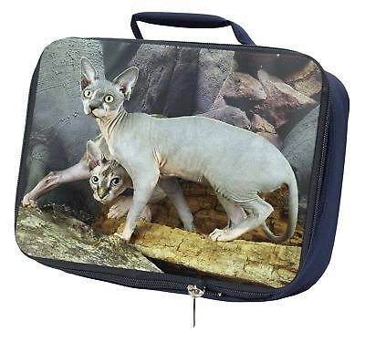 Sphynx Cat Navy Insulated School Lunch Box Bag, AC-24LBN