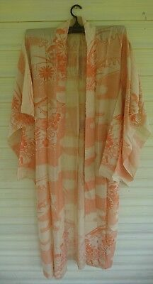 Lovely Cream & Orange Patterned Vintage Japanese Light Kimono