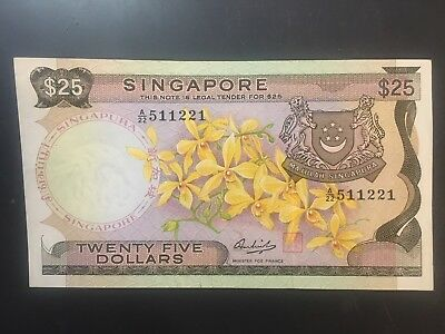 SINGAPORE $25 Dollars Orchids series banknote UNC A/22