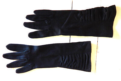 Dents glamorous ruched black vintage dress gloves size 7