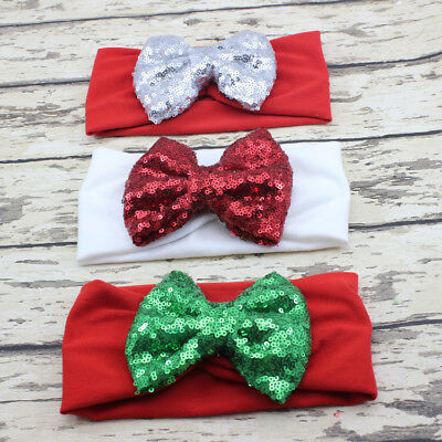 Christmas Headband with Solid Color Sequins Children Cute Bow Baby Hair Band
