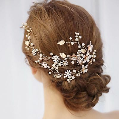 Triple vine Gold Leaf wedding Bridal Bride hair accessories garland piece flower