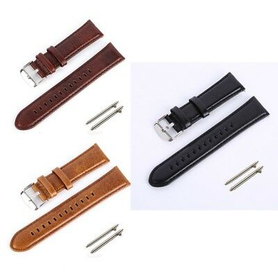 Universal PU Leather Wrist Watch Band Replacement Strap Bracelet + Spring Bars