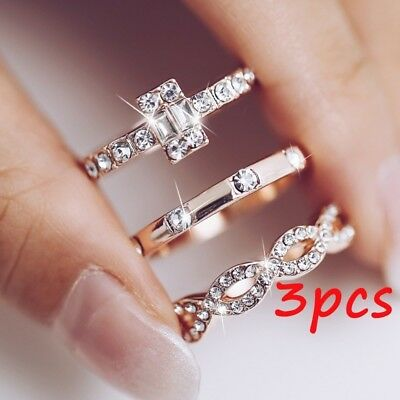 3Pcs/Set New Geometry Intersect Crystal Rings Set For Women Girls Jewelry Gifts