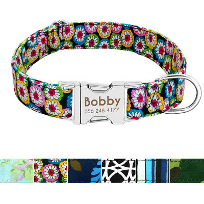 Heavy Duty Buckle Nylon Personalised Dog Collar Nameplate Engraved Small Large