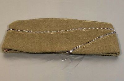 WWII US Army Airforce Garrison Overseas Wool Cap Hat Leather NICE 6 3/4 Uniform