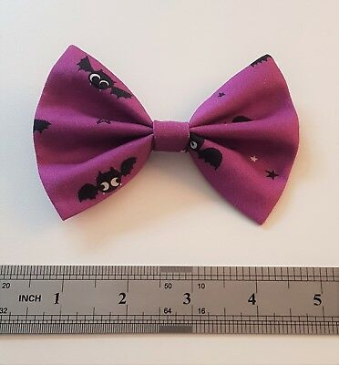 Rockabilly Clip In Hair Bow Purple Bats 50s PinUp Halloween Goth Punk Tie Gift