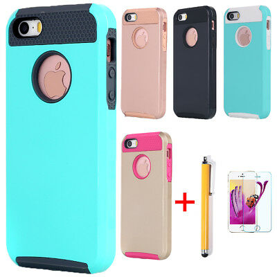 For Apple iPhone 5S 5 SE Shockproof Heavy Duty Rubber Hard Tough Back Case Cover