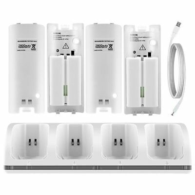 4 Rechargeable Battery Dock Charger Station for Nintendo WII Remote White