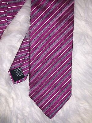 HUGO BOSS Men's Pink Gray Diagonal Striped Silk Neck Tie 58""