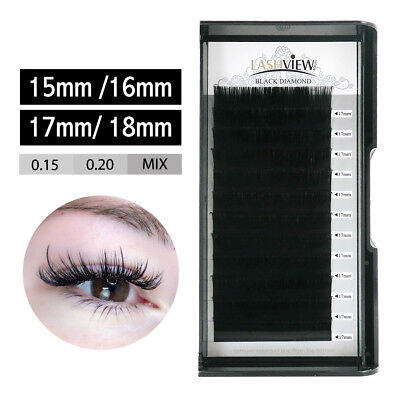 Lashview .15 .20 Individual Eyelash Extensions 15/16/17/18mm Mink Eye Lashes C D