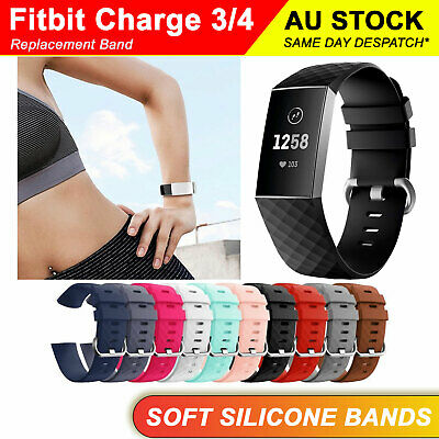 Fitbit Charge 3 Watch Soft Silicone Replacement Band Strap Diamond-Textured