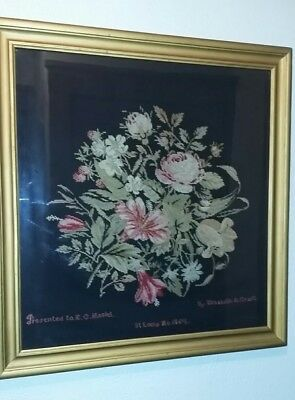 Antique Sewn / Stitched Flower Bouquet Picture,  Named/dated 19Th C.  Civil War