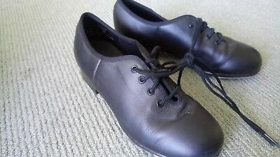 Capezio Black leather lace up tap dance shoes CG100 Sz 6 M J2 65 Very good