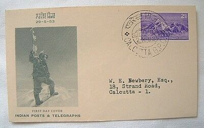 FIRST DAY COVER CONQUEST OF EVEREST 29th MAY 1953 POST MARK CALCUTTA