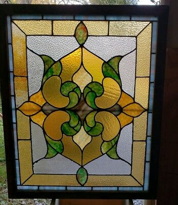 ANTIQUE VINTAGE LEADED STAINED GLASS WINDOW 26 by 32 INCHES