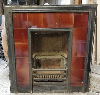 EDWARDIAN CAST IRON TILED FIRE INSERT WITH ATTRACTIVE RED TILES ref FI0015