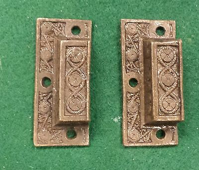 PAIR Mini DRAWER PULLS  EMBOSSED CAST IRON  VICTORIAN STYLE