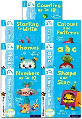 Preschool Progress with Oxford 7 Books Collection Set (Age 3-4) Phonics, Numbers