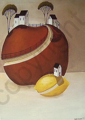 Surreal folk apple modern farm country art Criswell ACEO print of painting gift