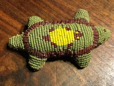 1890-1920 Sioux Native American Indian Beaded Turtle Umbilical Fertility Fetish