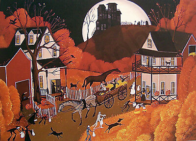 Halloween trick or treaters witch folk art Criswell ACEO print of painting gift