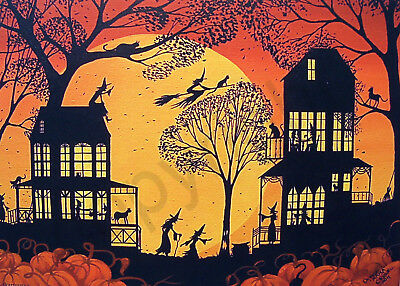 Witch witches black cats Halloween moon art Criswell ACEO print of painting gift