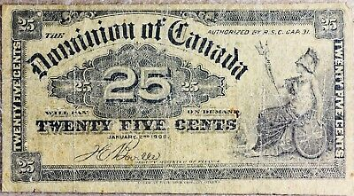 1900, January 2nd 25 Cents Dominion of Canada