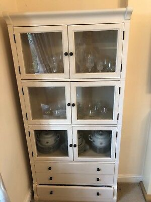 Large Wooden Glass Dresser Display Cabinet For Dining Room Living