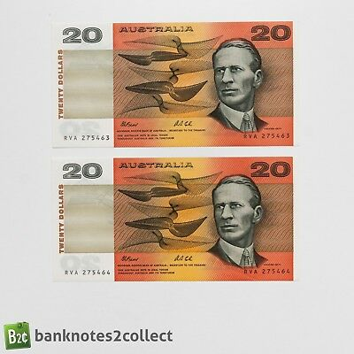 AUSTRALIA: 2 x 20 Australian Dollar Banknotes with consecutive serial numbers.