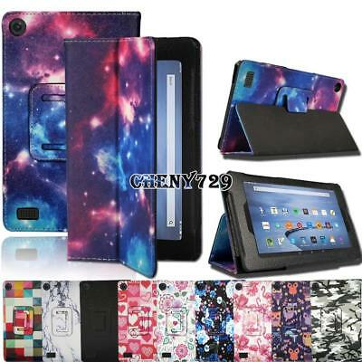For Amazon Kindle Fire 7 Alexa 2015 & 2017 - Stand Leather Cover Case + Stylus