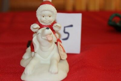 Dept 56 Snowbabies~ Babies on the Farm~ Giddyap Horsey ~ Holiday Dog Figurine