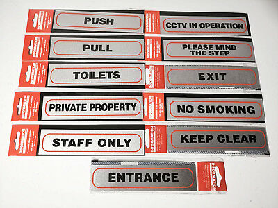 SELF ADHESIVE INFORMATION SIGN BRUSHED METALLIC Silver DOOR STICKER Signage