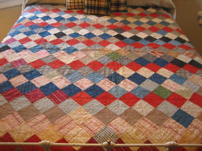 Antique Vintage Quilt Cadet Blue Red Black Brown Homepun Calico One Patch 71x85