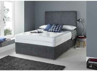 NEW GREY MAJESTIC DIVAN BED SET WITH MATTRESS HEADBOARD 3FT 4FT6 Double 5FT