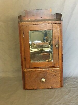 Small Vtg Oak Surface Wall Mount Medicine Cabinet Cupboard  Bathroom Old 589-18E