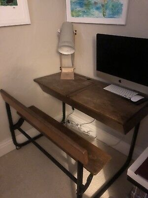Old Wooden Double Vintage School Desk & Fixed Bench Chair.