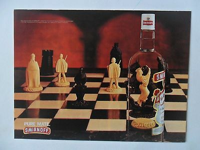 1997 Print Ad Smirnoff Vodka ~ Game of Chess Black Knight White Queen Embrace
