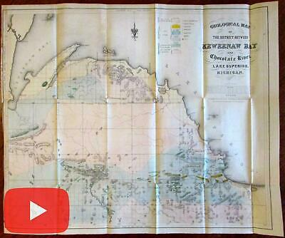 Geology Michigan Lake Superior Keweenaw Bay 1847-51 Foster Whitney map
