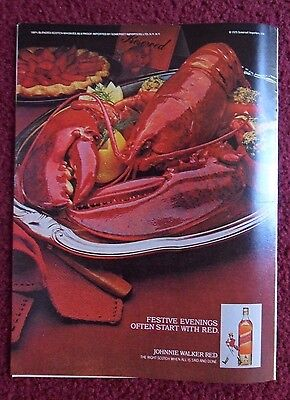 1979 Print Ad Johnnie Walker Red Label Whisky ~ Evenings Start With RED Lobster