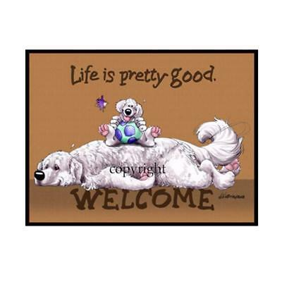 Great Pyrenees Dog Breed Life Is Good Cartoon Artist Doormat Floor Door Mat Rug