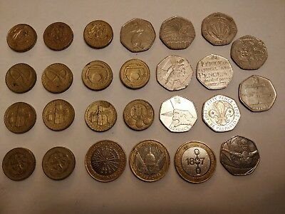 Rare British Coin Collection of 50p, £1 and £2