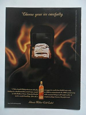 1997 Print Ad Johnnie Walker Gold Label Whiskey ~ Choose Your Ice Diamond Ring