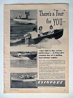 """1946 Print Ad Evinrude Outboard Boat Motor ~ There's a """"Four"""" For You"""