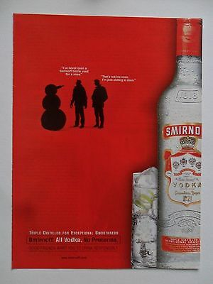 2000 Print Ad Smirnoff Vodka ~ Snowman with Bottle Nose SHADOW ART